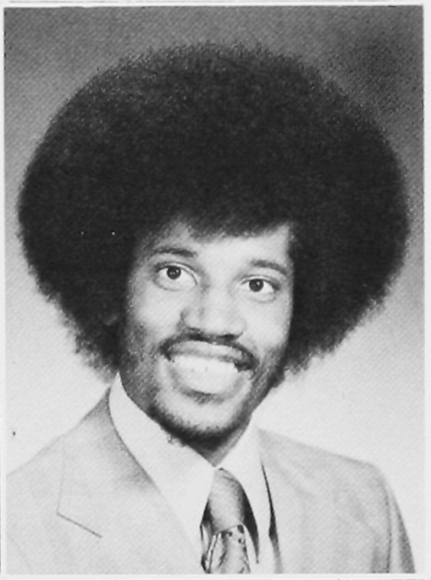 A yearbook photo of Larry Elder while he was attending Brown University.