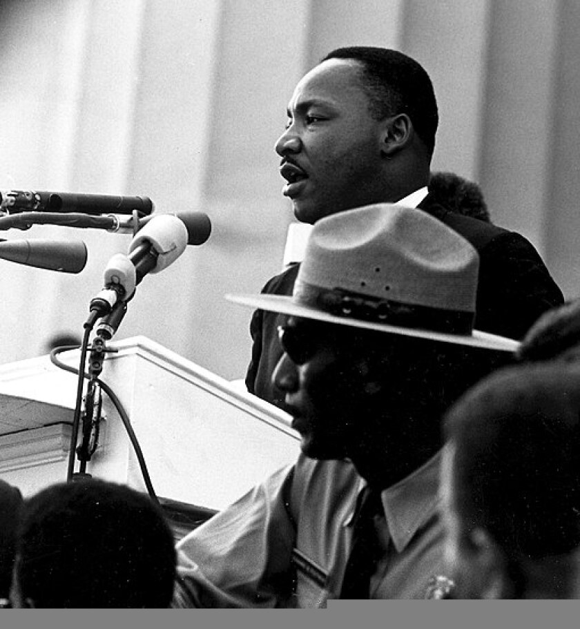 """Dr. Martin Luther King giving his """"I Have a Dream"""" speech during the March on Washington on 28 August 1963"""