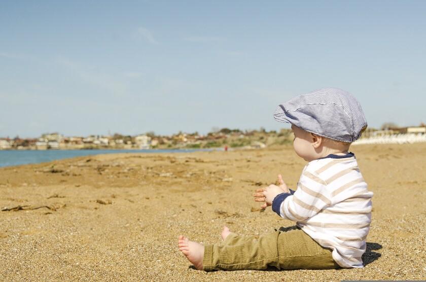 A child on a beach