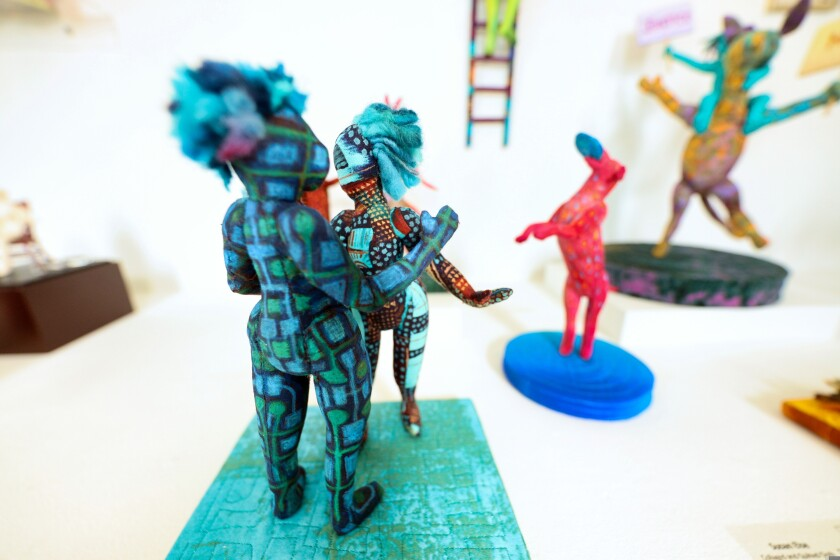 Figurines are among the art pieces.