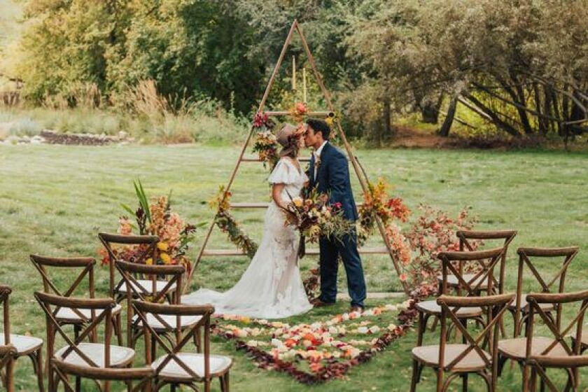 Wedding with rustic furniture