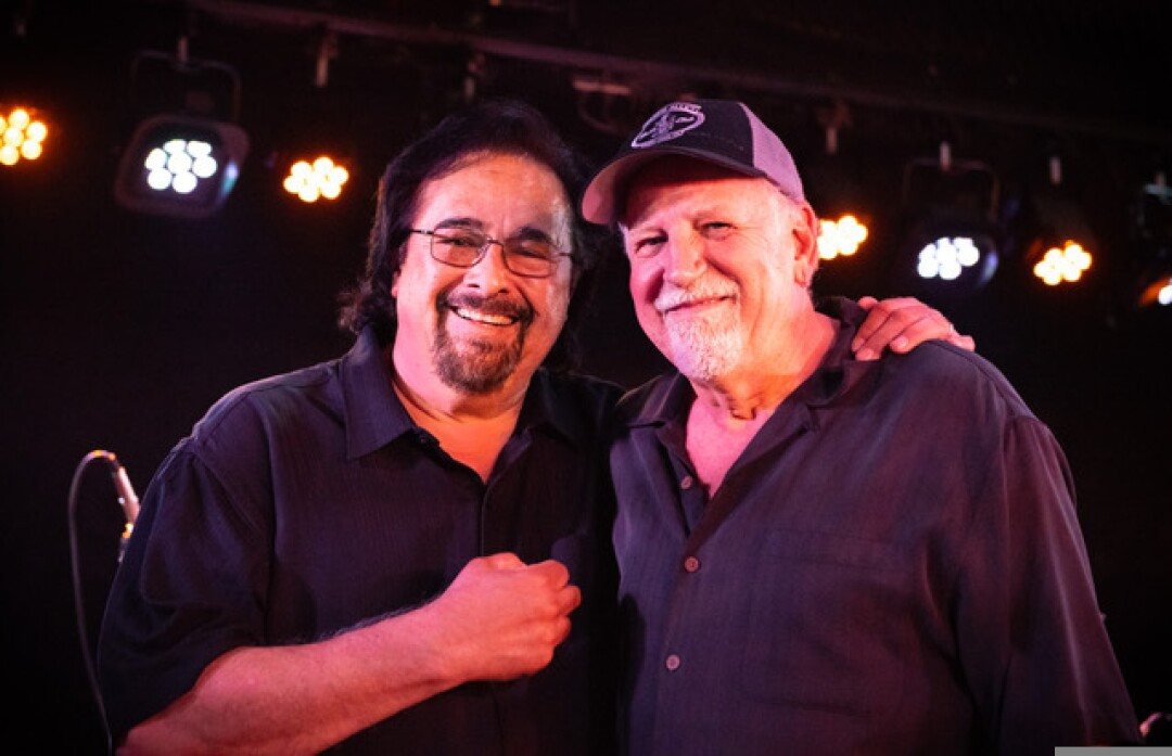 Bill Welch (right) with one of Moe's most prolific artists, Bay Area blues guitarist Coco Montoya.