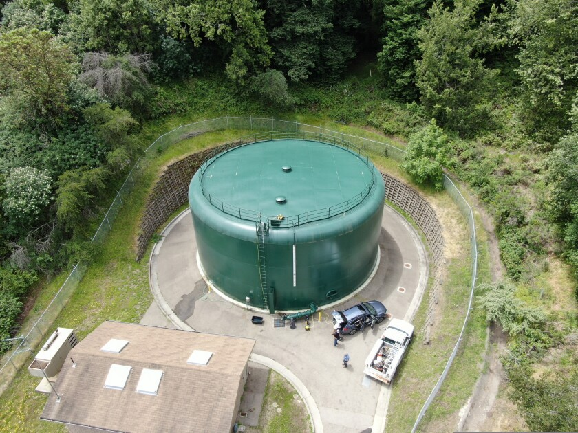 The District's Cornwell water storage tank can hold up to 500,000 gallons of water.