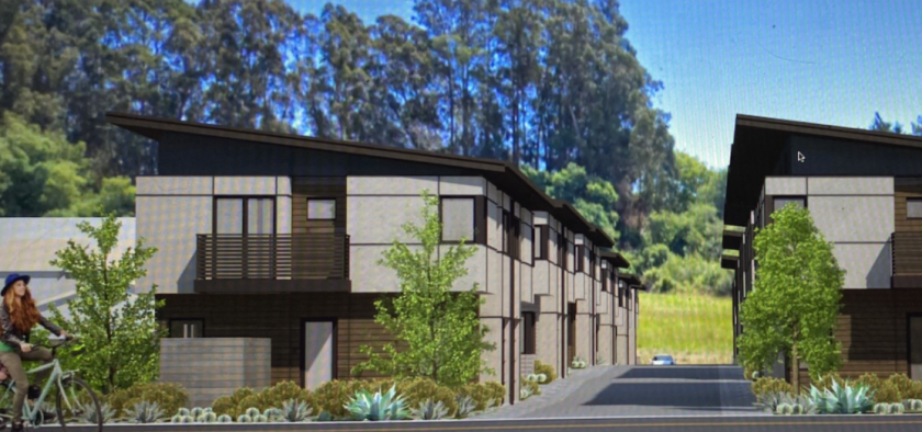 A rendering from CKA Architects shows the proposed townhome development at 3212 Mission Drive.