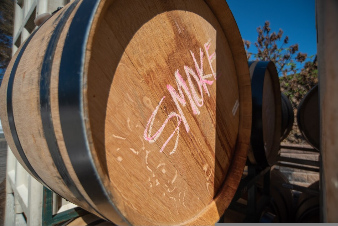 Smoke-tainted wine at Big Basin Vineyards.