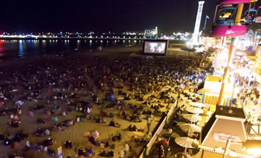 A movie on the beach by the Santa Cruz Beach Boardwalk