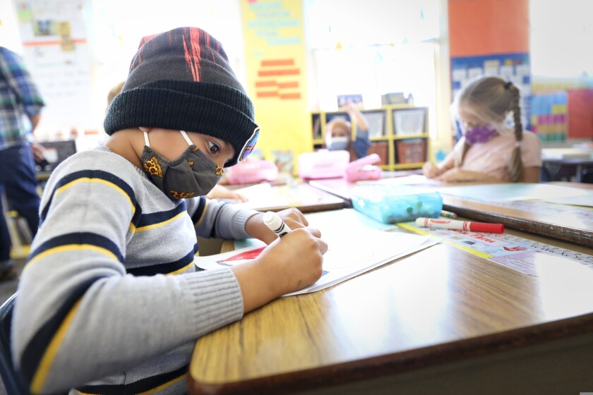 A child in a classroom at Gault Elementary in Santa Cruz
