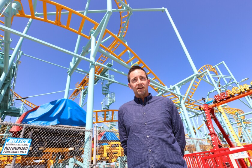 Santa Cruz Beach Boardwalk president Karl Rice at the storied amusement park shortly before its April 1, 2021, reopening.