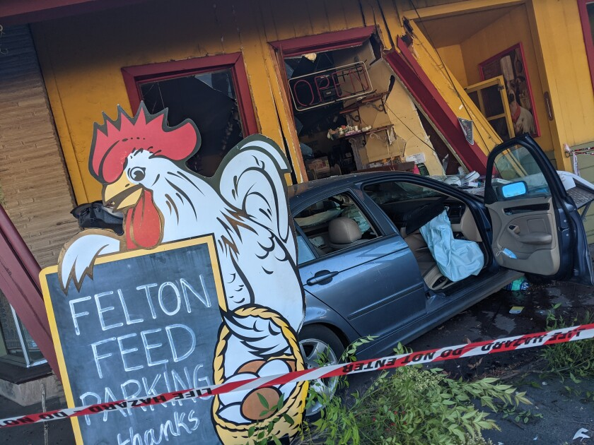 Scene from a car accident outside Felton Feed & Pet Supply in Felton on Sunday, May 23, 2021.