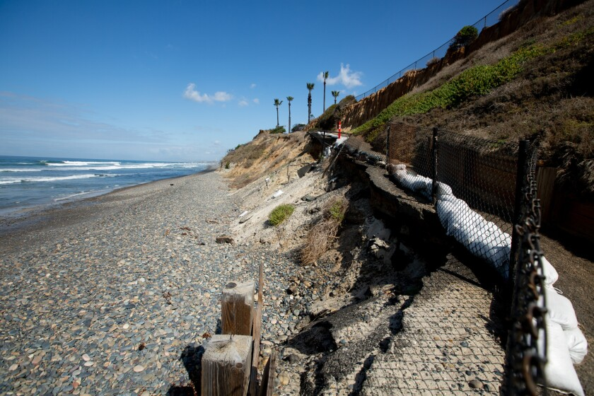 A walkway to the beach at South Carlsbad State Beach on March 3, 2021. Photo by Shae Hammond for CalMatters