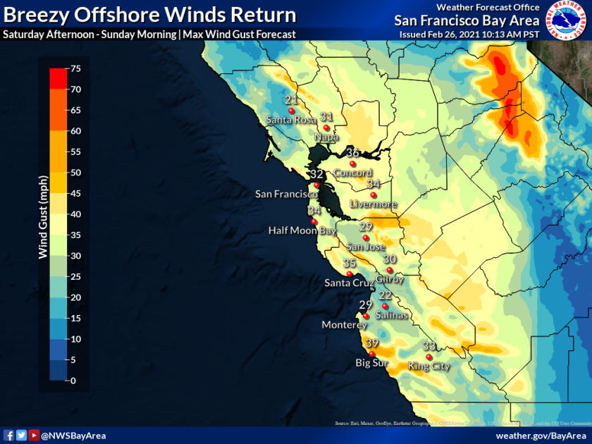 National Weather Service graphic showing forecasted wind speeds for Bay Area on Feb. 26. 2021