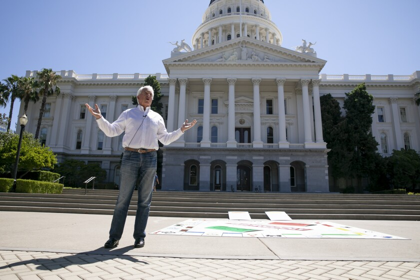 Republican recall candidate John Cox holds a press conference at the state Capitol on Aug. 5, 2021.