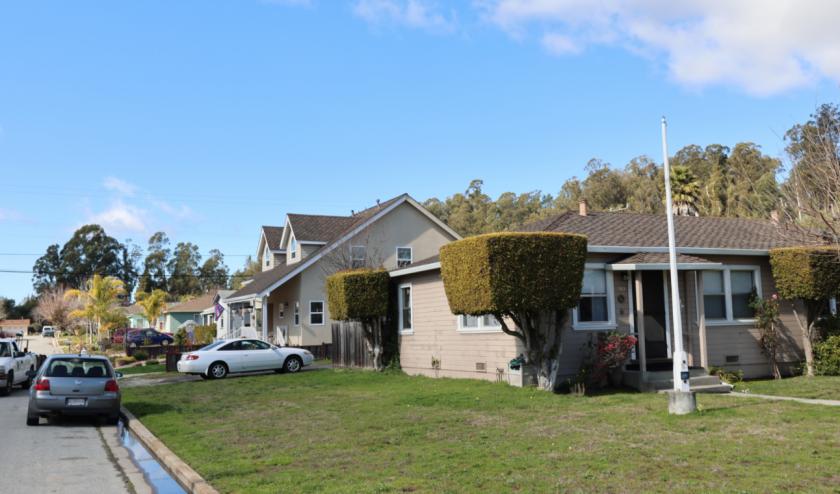 A block near DeLaveaga Park in Santa Cruz.