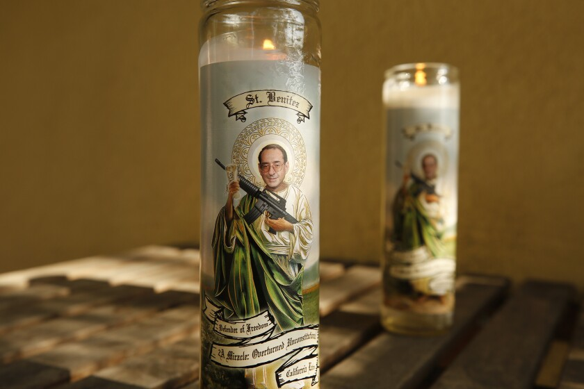 Prayer candles available online contain an image of federal judge Roger Benitez.