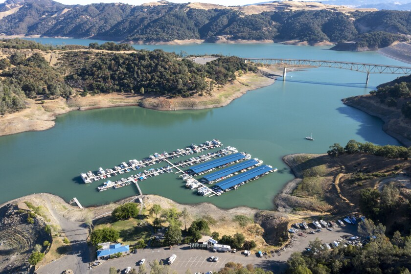 The water level has been steadily receding at Lake Sonoma in Geyserville, Calif.