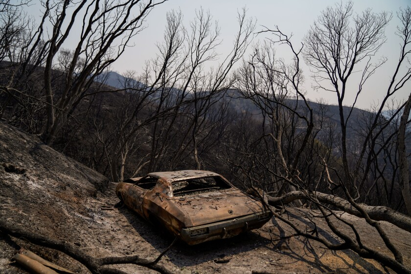 A charred car sits on a mountain blackened by the LNU Lightning Complex fire.