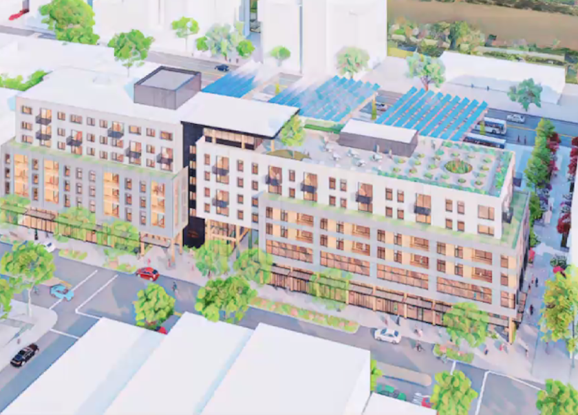 A rendering of the Pacific Station North development, which will include a Metro bus terminal.