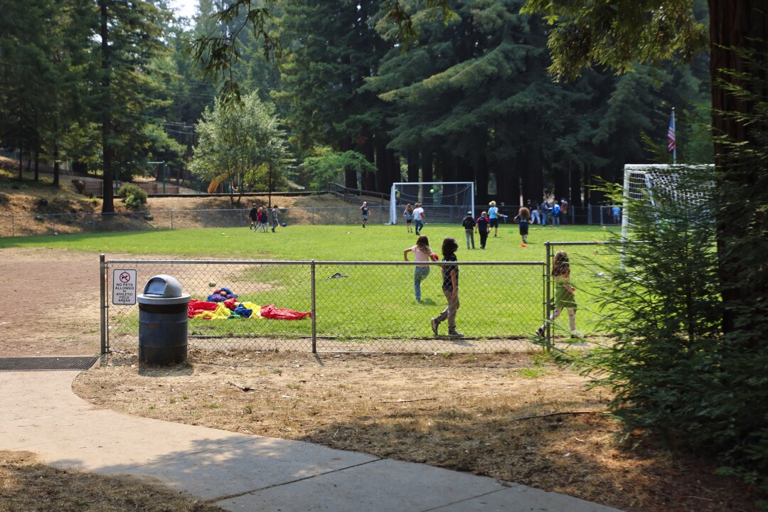 A tiny school in the middle of the redwoods, Bonny Doon Union Elementary School has a 120 kids.