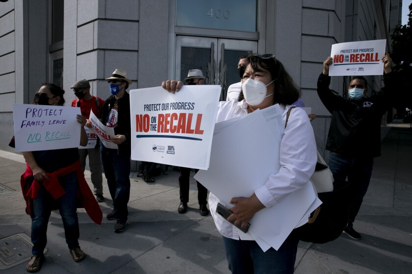 San Francisco union members protest against the recall election.