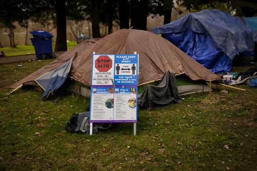 Tents at a homeless encampment at San Lorenzo Park on Feb. 9, 2021.