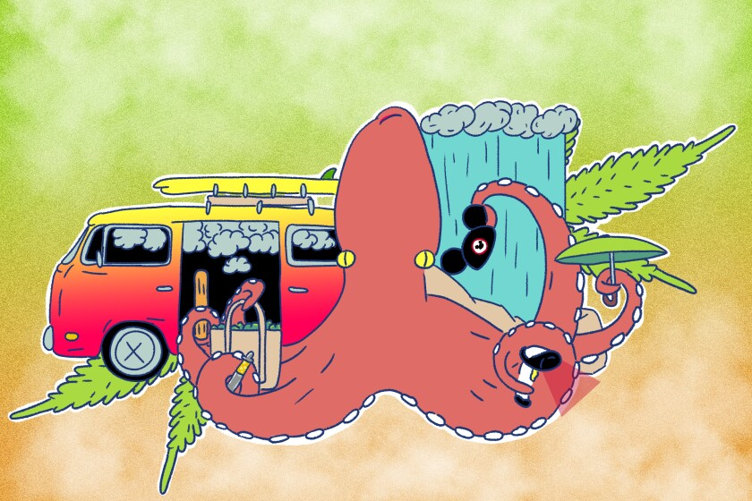 a giant pink illustrated octopus holding various objects