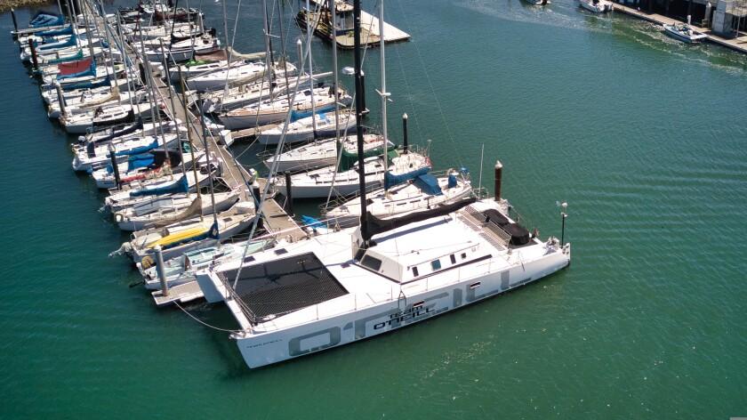 The O'Neill Sea Odyssey catamaran sits docked on April 29, 2021.