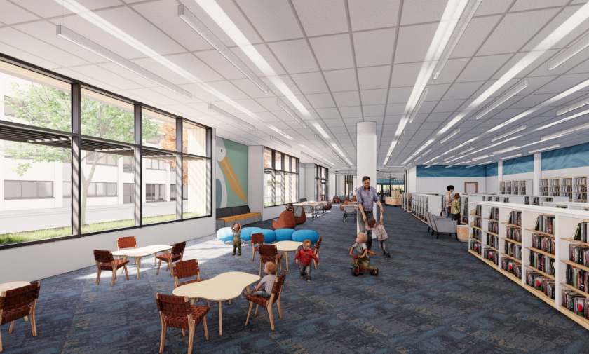 A preliminary rendering of the children's section of the new downtown library in Santa Cruz.
