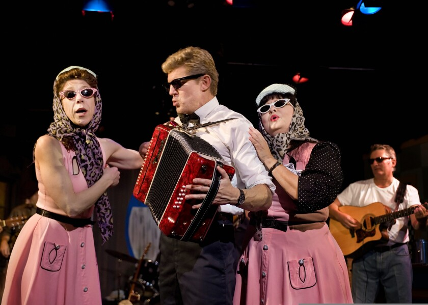 """A Jewel Theatre production of """"Pump Boys and Dinettes,"""" with Jewel artistic director Julie James at left."""