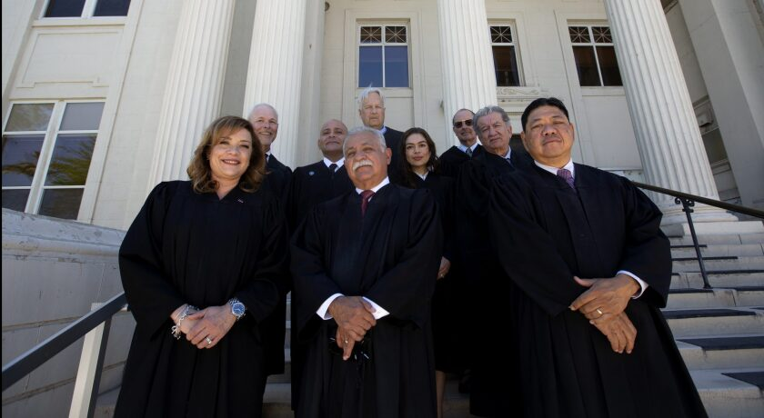Judges stand for a portrait outside the Imperial County Superior Court on April 29, 2021.
