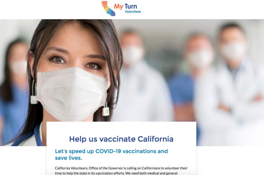 Screenshot of the state's MyTurn Volunteer website.