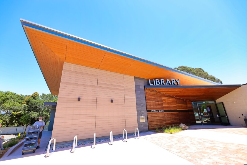 The main entrance to the new Capitola Library is close to where it was at the old building
