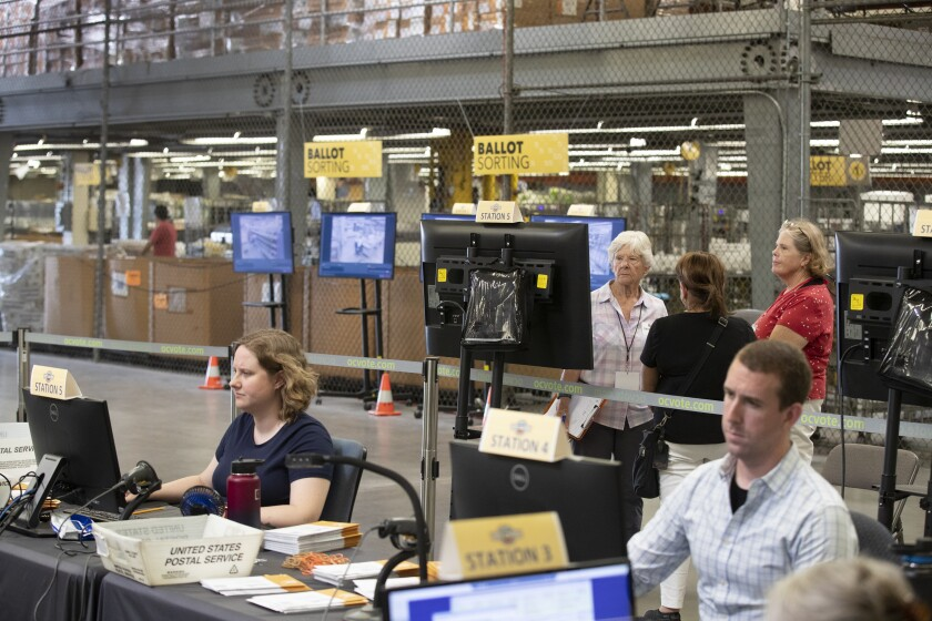 Observers from the Election Integrity Project watch ballots be processed (and signatures verified)