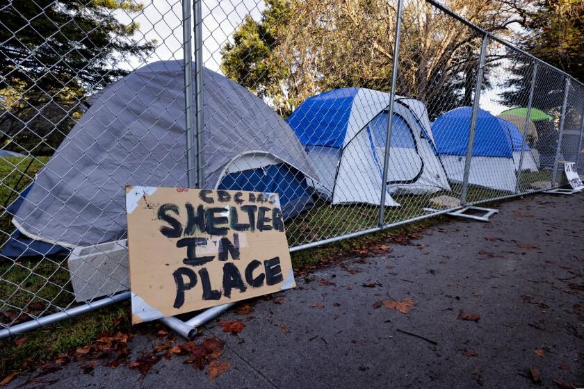 The homeless encampment in San Lorenzo Park in Santa Cruz in December.