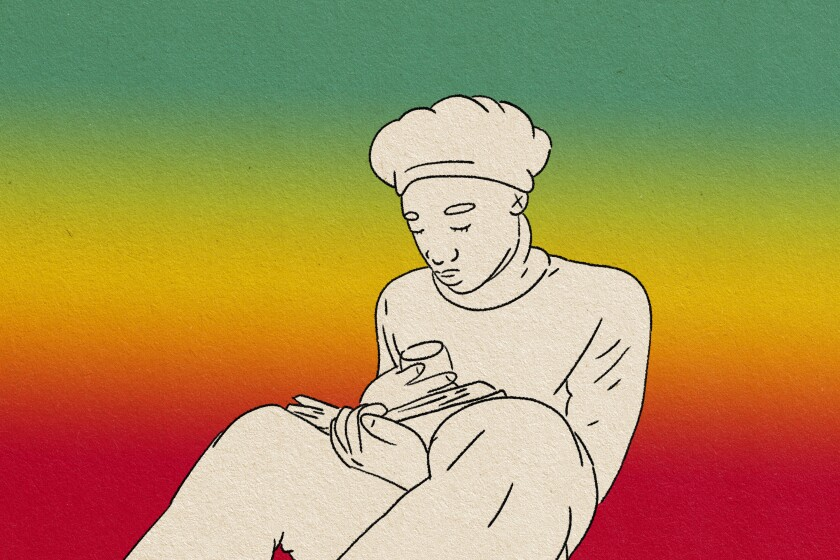 illustration of a woman reading a book while holding a glass
