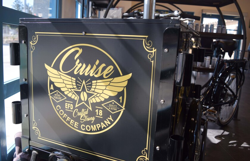 The Cruise Coffee Company bicycle and nitro coffee stand sits inside the new Cruise Coffee Cafe at 246 Kings Village Road