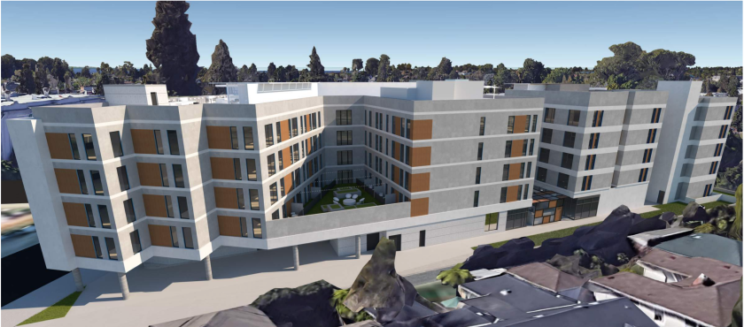 A preliminary rendering of the pair of five-story apartment buildings that could be built at 831 Water St. in Santa Cruz.