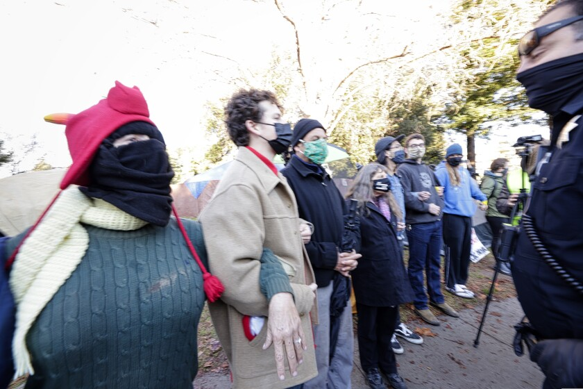 Protestors form a human chain in an attempt to block police from entering San Lorenzo Park on Monday morning.