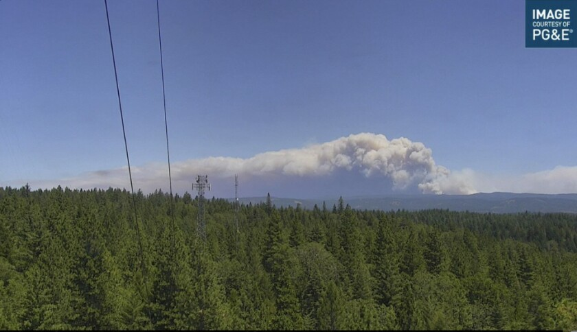 A view of the Dixie fire from a PG&E camera.