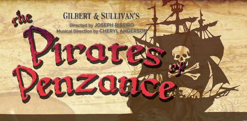 """A promotional flyer for Cabrillo Stage's """"Pirates of Penzance"""" production"""