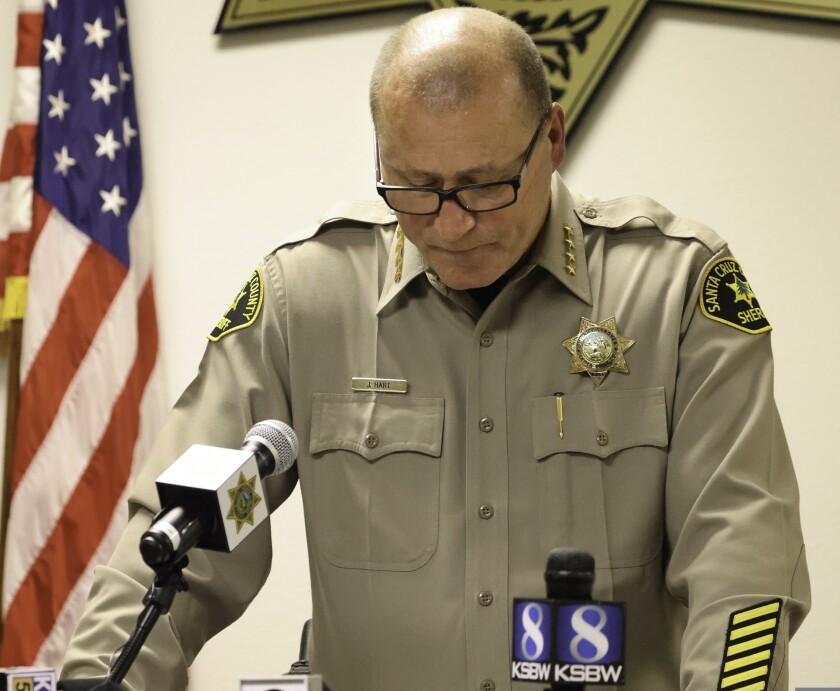 Santa Cruz County Sheriff Jim Hart speaks at Tuesday night's news conference.