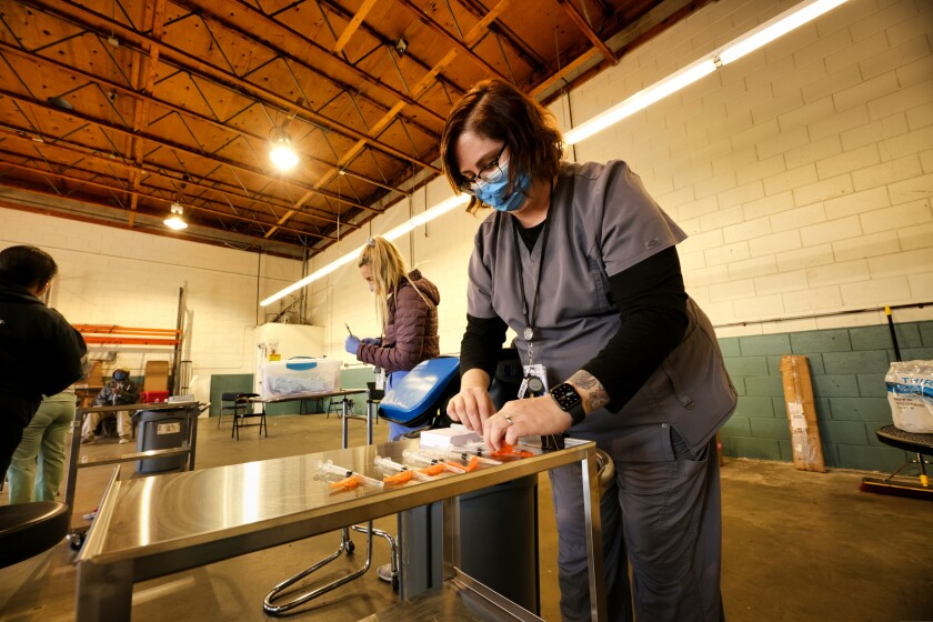 Vaccine clinic held for Santa Cruz County homeless population on Tuesday, March 15, 2021.