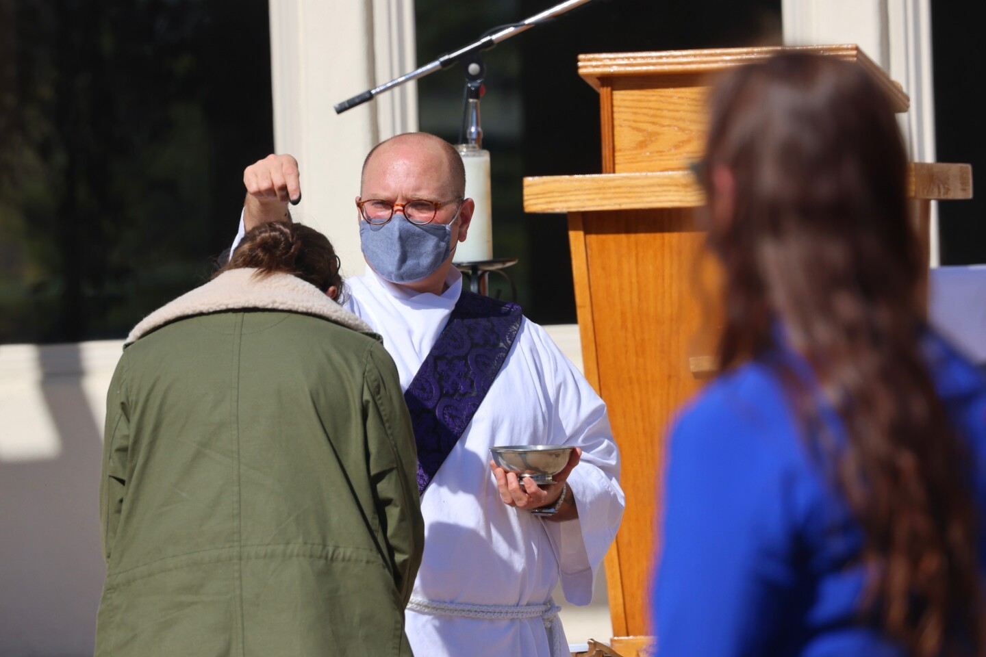 Ash Wednesday services look different during the pandemic at Holy Cross Church in Santa Cruz on Feb. 17, 2021