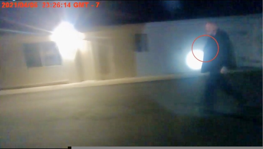 A screenshot of body camera footage released by the Santa Cruz County Sheriff's Office