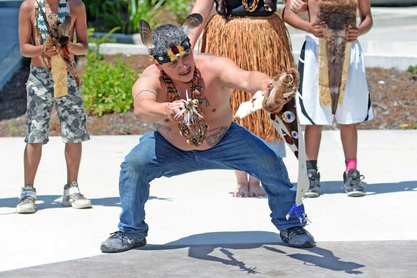 James Gensaw, a Yurok language teacher and ceremonial practitioner, performs a Brush Dance demonstration. Photo provided by Yurok Tribe