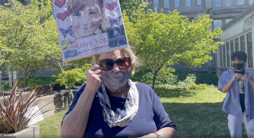 "Lisa Jordan, Maddy Middleton's ""Gammy"" outside the courthouse"