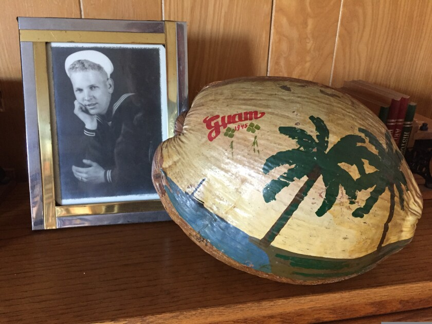 The painted coconut shell Johnson received from a Japanese prisoner of war he guarded in Guam.