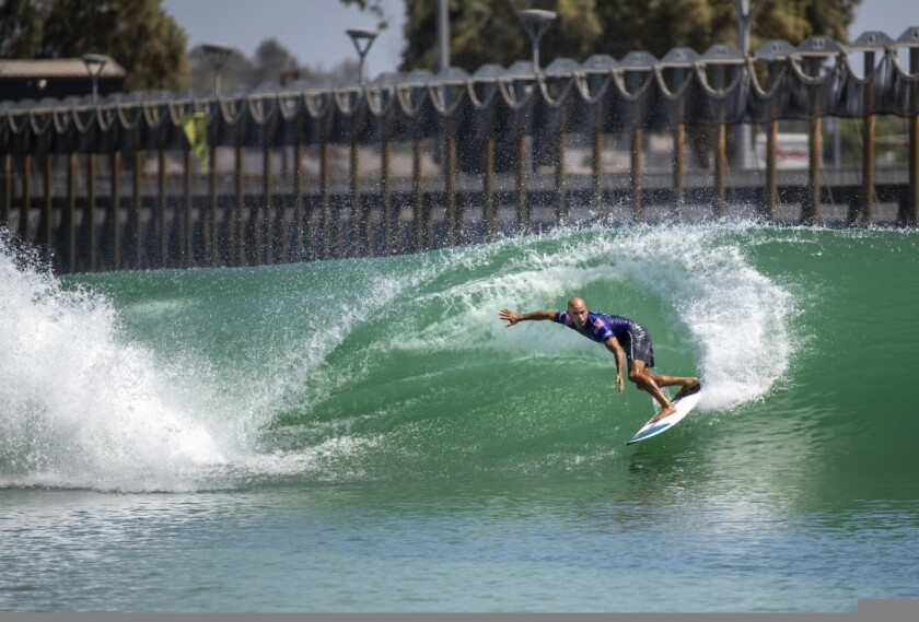 Kelly Slater at his wavepool called Surf Ranch in Lemoore.