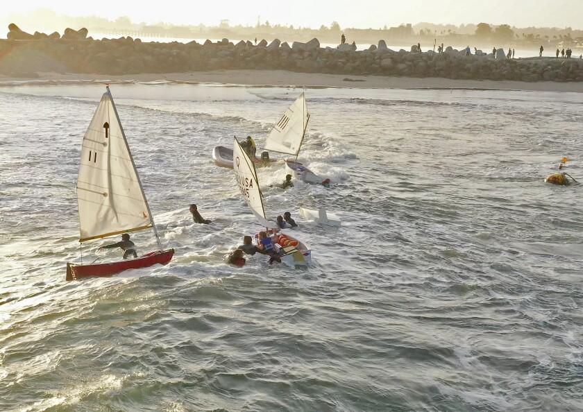 The scene in Santa Cruz Harbor Sunday.