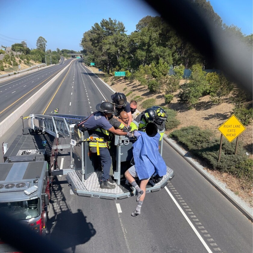 The rescue above Highway 1 on Wednesday afternoon.