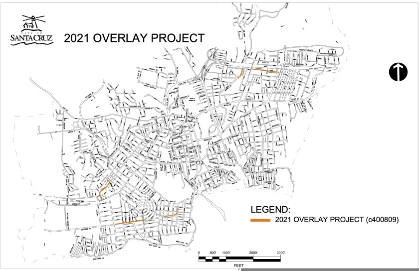 Map shows construction sites under the 2021 Overlay Project